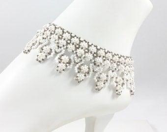 Beadwork Anklet - White Ankle Bracelet - Beadwork Jewelry - Pearl Anklet - Seed Bead Anklet - Wedding Anklet - Bridal Jewelry