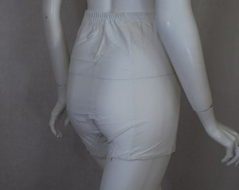 1950s Suspants White Panty Girdle, Acetate, 7, Medium, New Old Stock