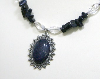 Blue Goldstone Starry Night Necklace with Cabochon