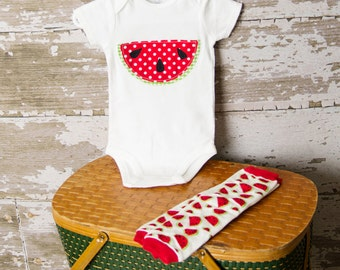 SALE! Watermelon Bodysuit with matching leggings Any Size newborn to 24 months Bodysuit or shirt size 2 4 or 6