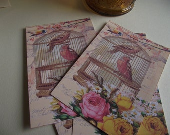 Birdcage Note Cards  Pastel Pink Roses Bird And French Writing