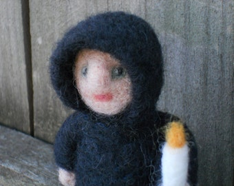 The Light-bearer /  Needle Felted Miniature Art Doll / Medieval Fantasy Waldorf Wool Figurine / Black Robed Fairy Tale Doll With Candle