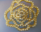 Bless Her with Roses Vintage Rhinestone Rose Brooch