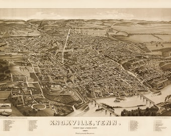 Vintage Map - Knoxville, Tennessee 1886