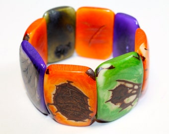 Tagua Seed Bracelet (Orange, Green, and Purple) Boho Jewelry, Folk Style, Boho chic, Summer Fashion, Festival Fashion