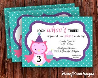 PRINTABLE Owl Birthday Invitation Whoo Whoo Boy Girl Custom