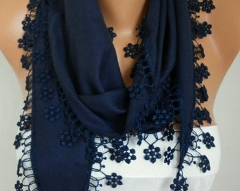 Dark Blue Floral Pashmina  Scarf,Fall,Christmas, Cowl Scarf with Lace Edge   - Necklace Scarf