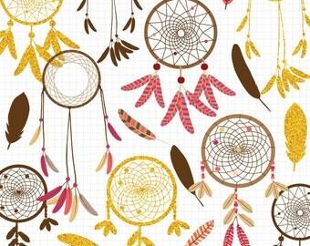 Dreamcatcher Clipart, Feather Clip Art, Dreamcatcher Clip Art, Digital Download Commercial Use Images