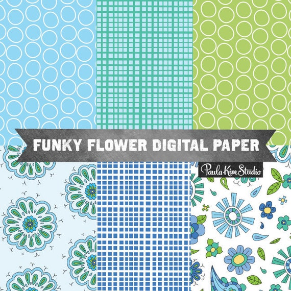 Sketchy Flower Papers Digital Paper Pack, Flower Digi Papers, Blue Backgrounds, Green Circle, Lattice