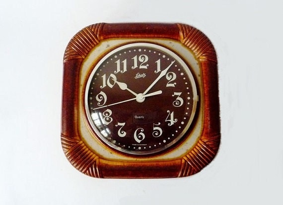 Vintage German Ceramic Wall Clock From Schatz