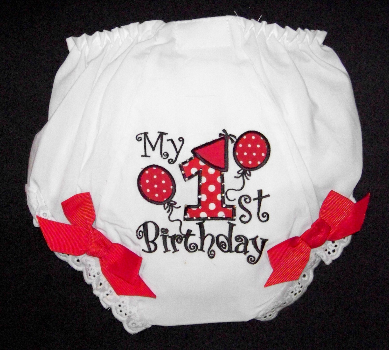 1st Birthday Diaper Cover / RED / Bloomer / Baby / Girl
