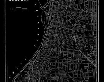 Memphis Street Map Balck Vintage Print Poster