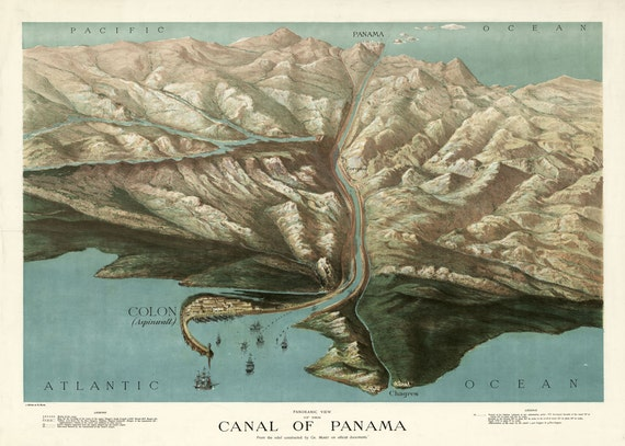 Panama Canal 1907 Panoramic Birds Eye View Map Print Poster