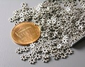 SPACER-AS-4MM - 50 pcs of Antiqued Silver Flower Spacers, 4mm
