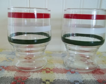 Juice for Two Striped ViNtaGe Glasses