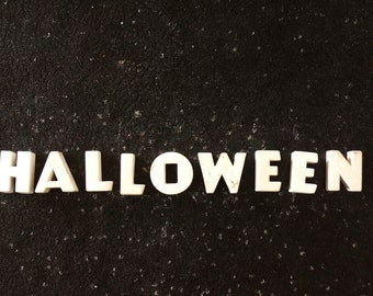 """Vintage White Ceramic Push Pins """"HALLOWEEN"""" (c.1940s) - Halloween Bulletin Board Decor, Altered Art Supply, and more"""