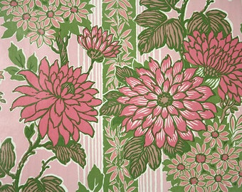 Retro Wallpaper by the Yard 70s Vintage Wallpaper - 1970s Pink Chrysanthemums and Daisies with Green