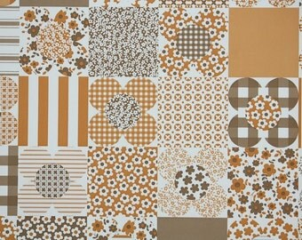 Retro Wallpaper by the Yard 70s Vintage Wallpaper - 1970s Brown and Orange Floral Patchwork Geometric