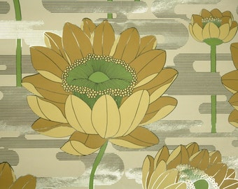 Retro Wallpaper by the Yard 70s Vintage Mylar Wallpaper - 1970s Yellow Water Lily Floral