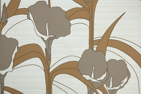 Retro Wallpaper by the Yard 70s Vintage Wallpaper - 1970s Vinyl Gray and Brown Cala Lilies on Biege