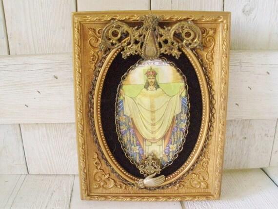 Vintage religious icon Christ embellished gold frame shrine assemblage