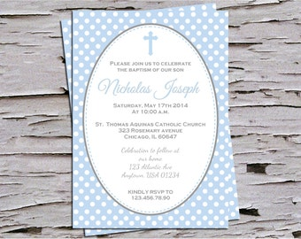 Baby Blue and Polka Dots Baptism Christening Dedication Invitation for Baby Boy - DIY Print at Home - First Communion