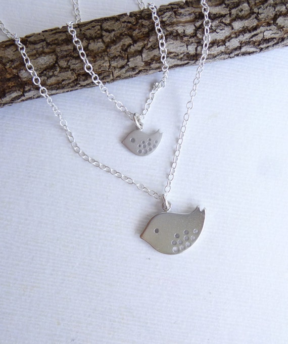 Two Silver Speckled Birds with Sterling Silver Chain -- Mother Daughter Necklace Set or Double Necklace