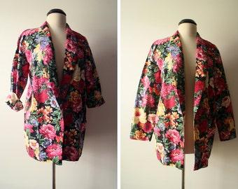 SALE Vintage 80s Mod Boho Floral Open Blazer Jacket Size M/L
