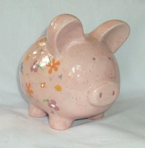 Hand painted ceramic piggy bank pink with by vickylynndesigns for How to paint a ceramic piggy bank