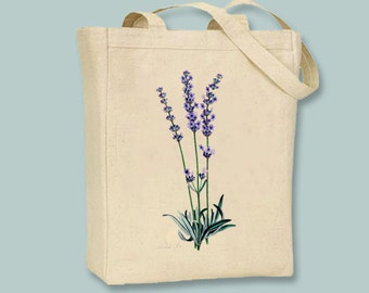 Vintage Lavender Image on Canvas Tote with Shoulder Strap - Selection of sizes available