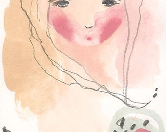 ACEO original girl painting, silence drawing, art card