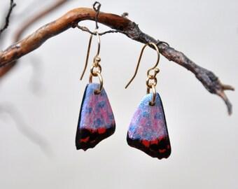 Common Opal Butterfly Wings Earrings - Carved Walnut Hardwood & Hand Painted - 14 Karat Gold Filled Findings