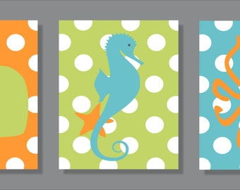 Whale, Seahorse and Octopus, Children's Wall Art, Children's Art Print, Nursery Decor, Polka Dot - Set of three prints