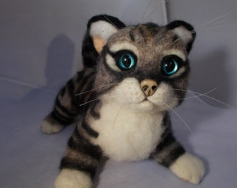 Kitten Cat Playful Needle felted Made To Order OOAK by Grannancan
