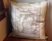 1853 Michigan Map Pillow