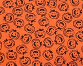Halloween Fabric/Pumpkins/Jack O Lanterns/Orange and Black/Fabric by the Yard/Half Yard/Fat Quarter/PRICES VARY