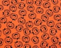 Halloween Fabric/Pumpkins/Jack O Lanterns/Orange and Black/Fabric by the Yard/Half Yard/Fat Quarter/PRICES VARY