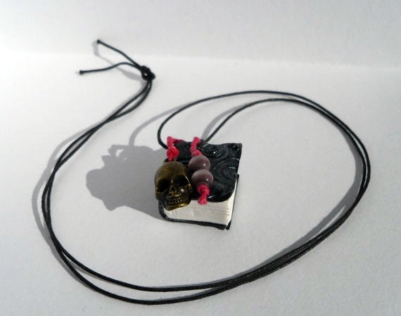 Book Necklace - Polymer Clay Book Pendant - The Mysterious Black Book - OOAK