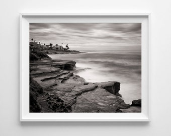 San Diego California Beach Photography - La Jolla Cliffs Black and White Fine Art Landscape Print - Small and Large Wall Art Sizes Available