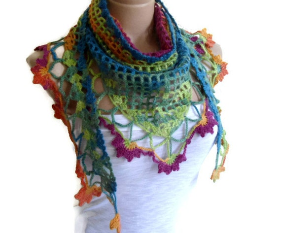 crochet flower scarf,hand-knitted,fashion,unique gifts,  winter,  Women,shawl, multicolor,valentines day