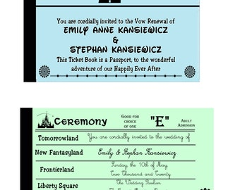 Disney World Vintage Ticket Book Inspired Wedding Invitation Files **(For PERSONAL USE ONLY)