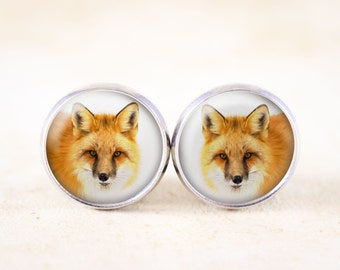Silver Fox Earrings - Cute Fox Face Jewelry