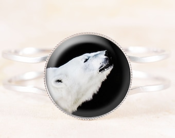 Polar Bear Bracelet - Silver Bear Bracelet, Spirit Animal Jewelry, Silver Animal Jewelry, White Bear Photography, Totem Animal Bracelet