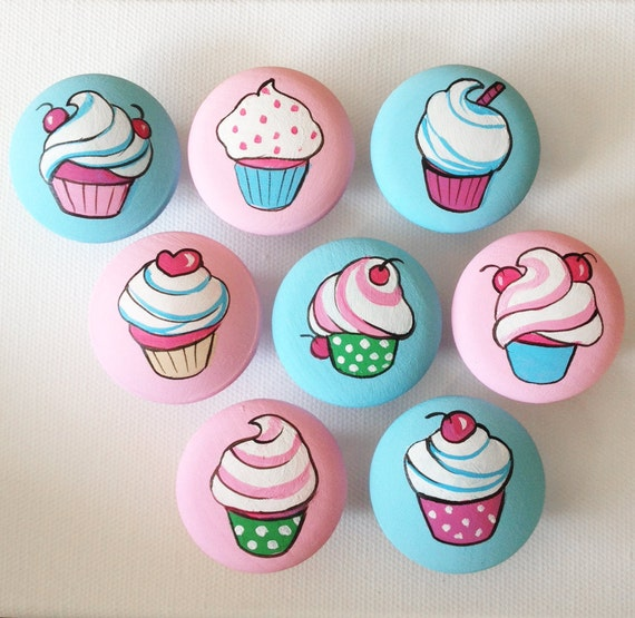 Girly Vintage Cupcakes Drawer Pulls Dresser Knobs Closet