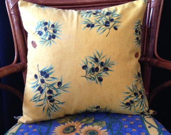 PROVENCAL OLIVES w/CICADAS on Yellow French Pillow Cover (#1288)