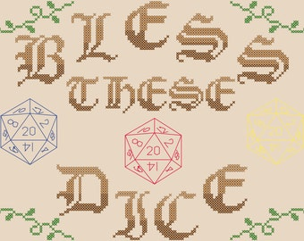 Bless these Dice Cross Stitch Pattern/Gaming Cross Stitch Pattern/Polyhedral Dice Cross Stitch Pattern/Game Room Cross Stitch Pattern/PDF