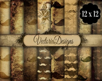 Grunge Mustache Papers Digital Paper 12 x 12 inch pack printable hobby crafting scrapbooking instant download digital collage sheet - VD0593