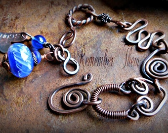 Memory Bead Personalized Antiqued Copper Bracelet, Custom, made with Pet Ashes