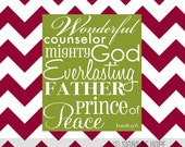 Red and White Chevron Christmas Art Print, Wonderful Counselor Mighty God Everlasting Father Prince of Peace
