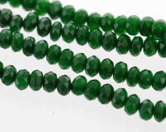 5mm EMERALD GREEN JADE Rondelle Beads, Faceted Gemstone Rondelle Beads, full strand, about 130 beads, gjd0154